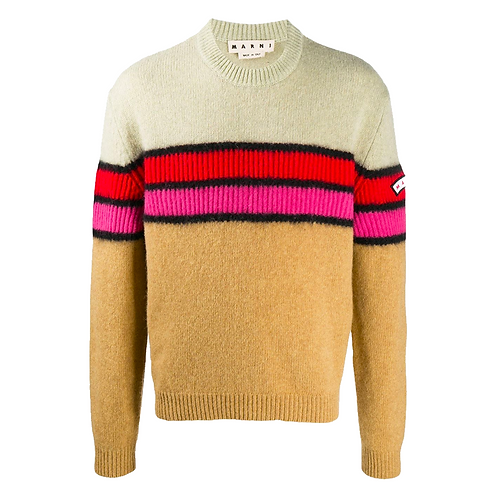 MARNI STRIPED LOGO PATCH SWEATER