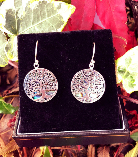 """Paua Shell Tree of Life Drop Earrings with 6""""x4"""" Signed Photo"""