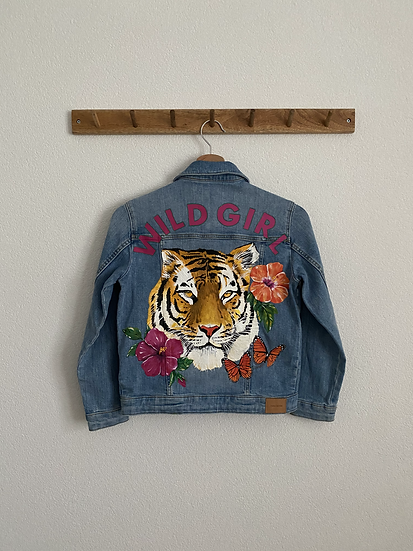 Wild girl tiger denim jacket