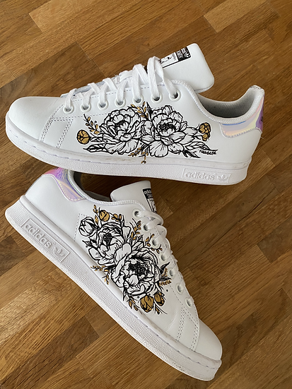 Black and Gold flower sneakers