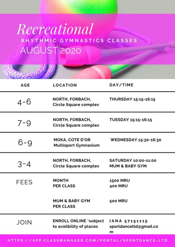 Schedule - August 2020