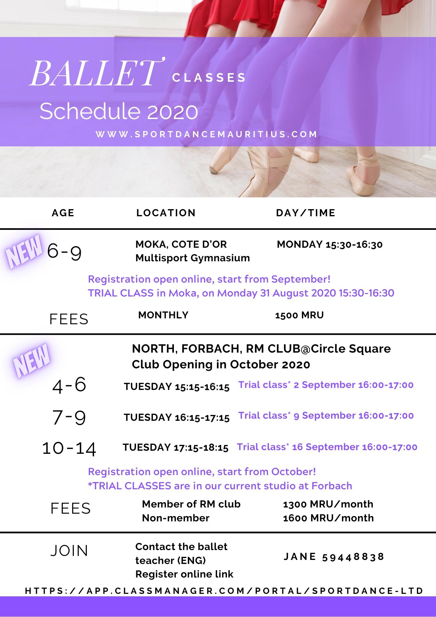 Ballet schedule