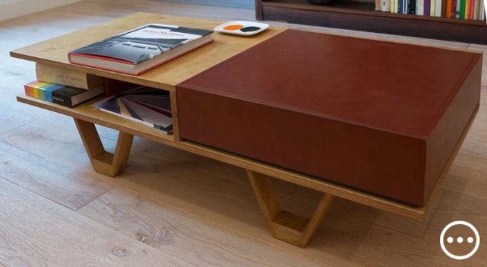 tavolino salotto design legno e cuoio poggiapiedi