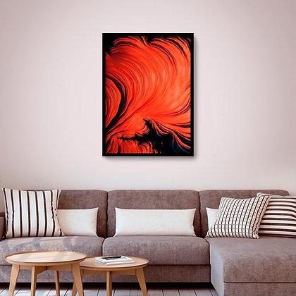 Quadro com moldura Orange Waves