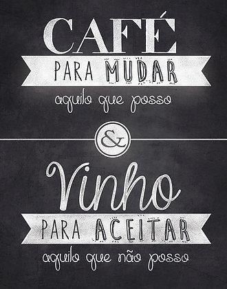 Placa Decorativa Café e Vinho