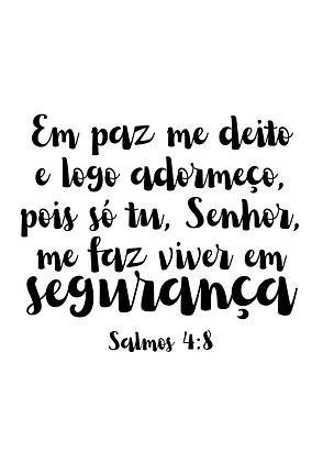 Placa Decorativa Salmos 4:8