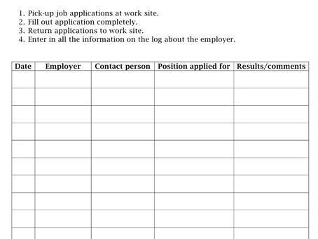 EMPLOYMENT AND TRAINING: Job Log