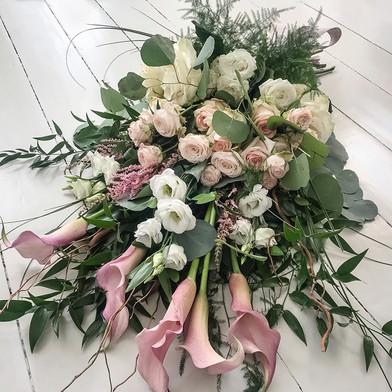 Calla, Garden Rose and Lisianthus