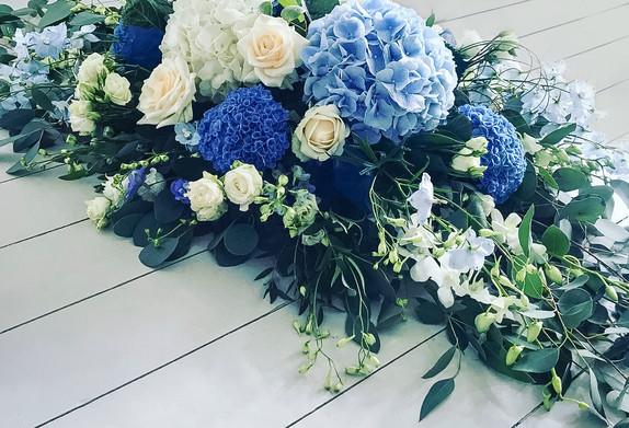 Hydrangea, Rose, Delphinium and Orchid