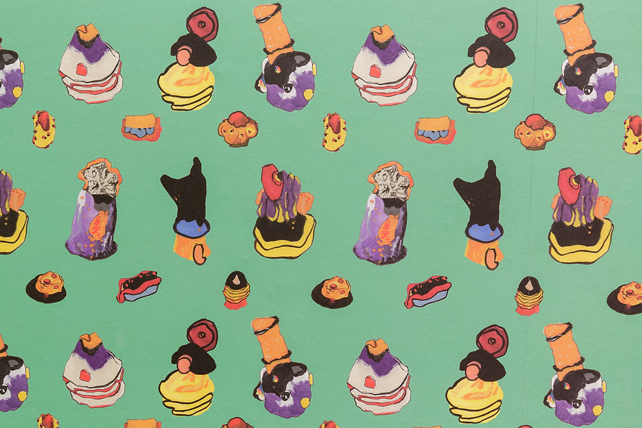 Helen Hayward, Plasticine Patisserie (wallpaper) 2017