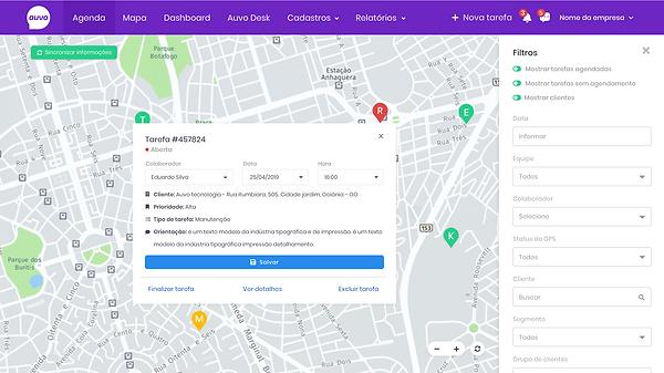 Operação - Mapa – Filtro com mouse-over