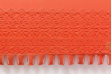 Helen Hayward, net curtain painting, painting, orange painting, colourfield