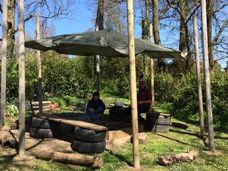 School creates fire pit shelter to encourage outdoor cooking and learning