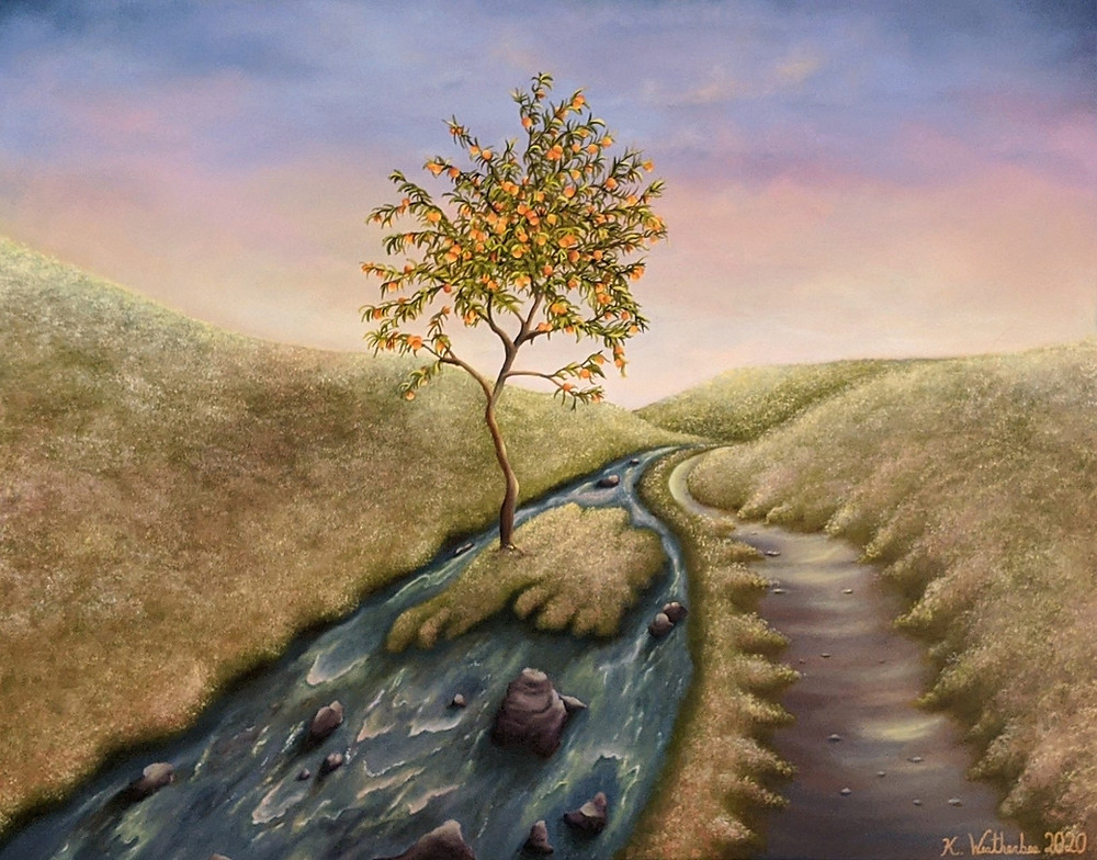 An oil painting inspired by the book of Psalm by artist Kari Weatherbee