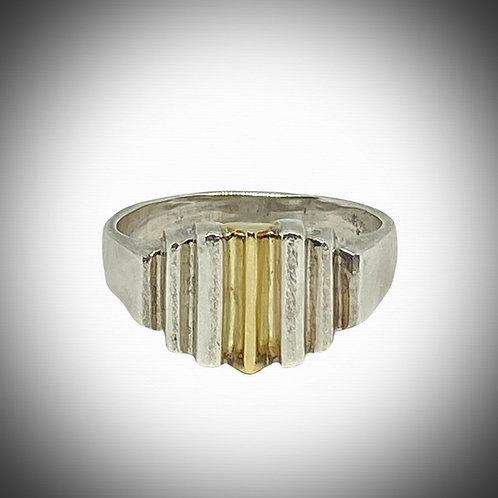 Sterling Silver & 14k Ridged Ring