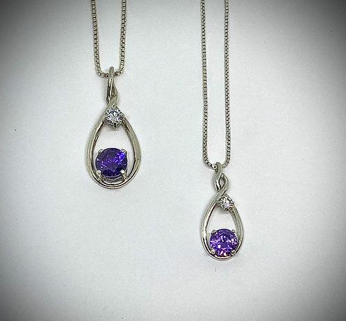 Purple & White CZ's