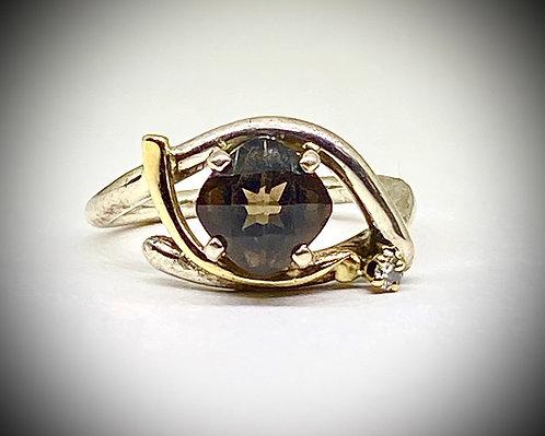 (Find Ring)Smoky Quartz & Diamond