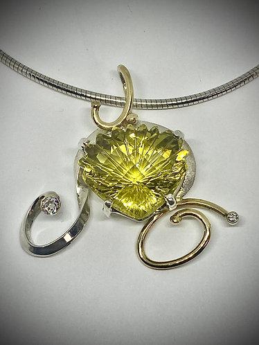 Prasiolite & Diamonds