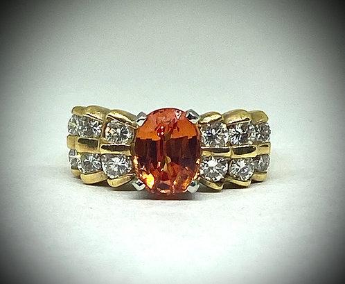 Padparadscha Sapphire & Diamonds