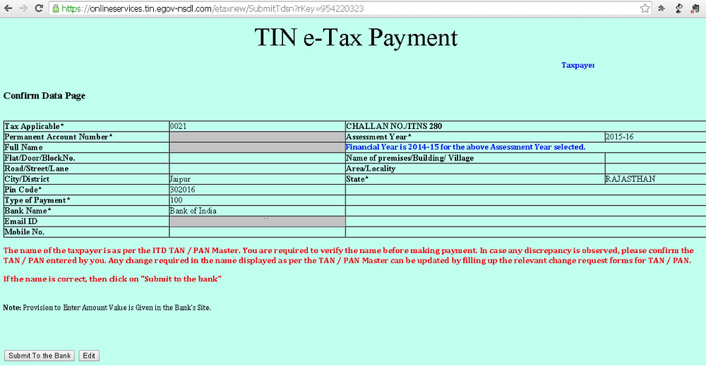 Step 4 - Income Tax Payment