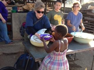 Kelly Staley serving food