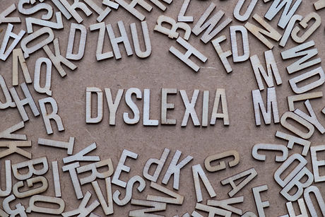 Dyslexia concept, word spelled out in wo