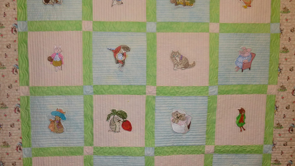 Storybook Animal Embroidered Baby Quilt 1