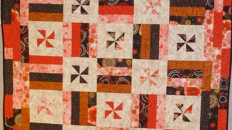 Red White Black & Pink Throw Quilt