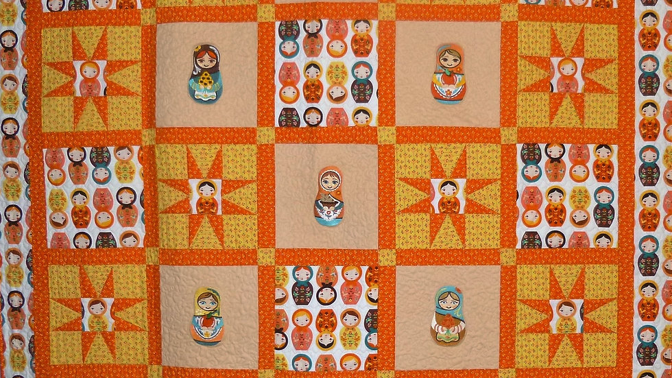 Russian Nesting Dolls (Matryoshka) Large Throw Quilt in Orange