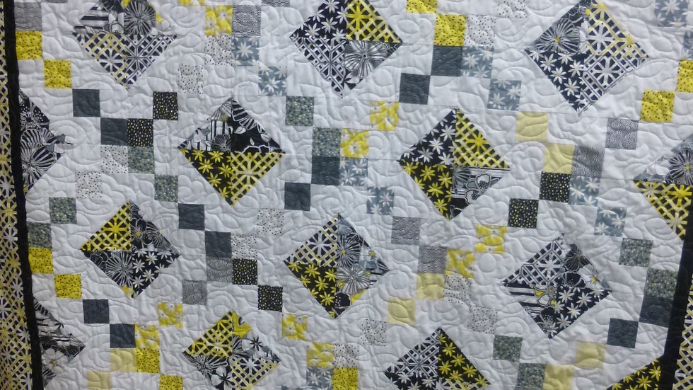 Black Yellow Gray White Large Throw Quilt with Minky Back