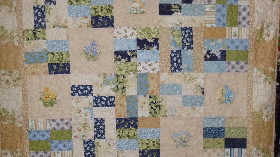 Patchwork Floral Embroidered Quilt 2