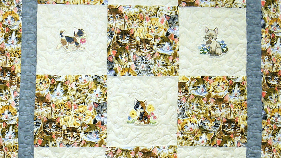 Sample (sold) Kittens on Parade Embroidered Flannel Throw Quilt