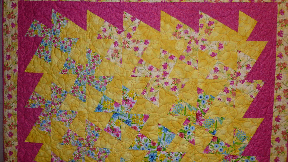 Twister Large Floral Throw Quilt of Yellow and Pink