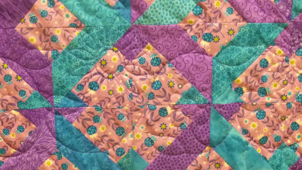 Turquoise Purple Floral Twist