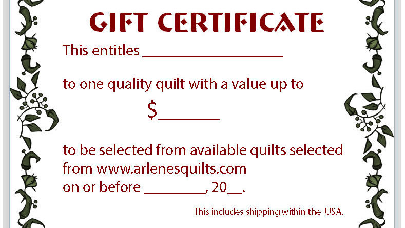 quilt gift certificate