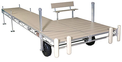 Porta-Dock Aluminum Roll-In Dock System with Beige Aluminum Decking