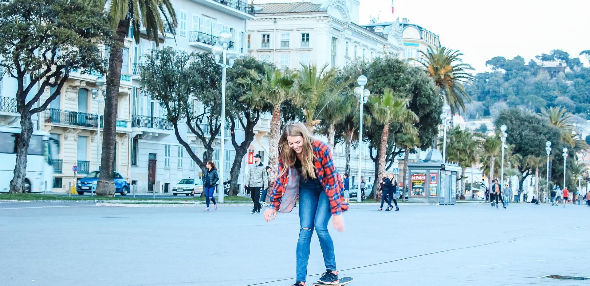Boarding along the boardwalk in Nice
