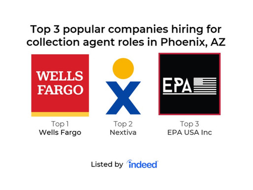EPA USA Inc was listed as the Top 3 Popular companies hiring for collection agent in Phoenix, AZ