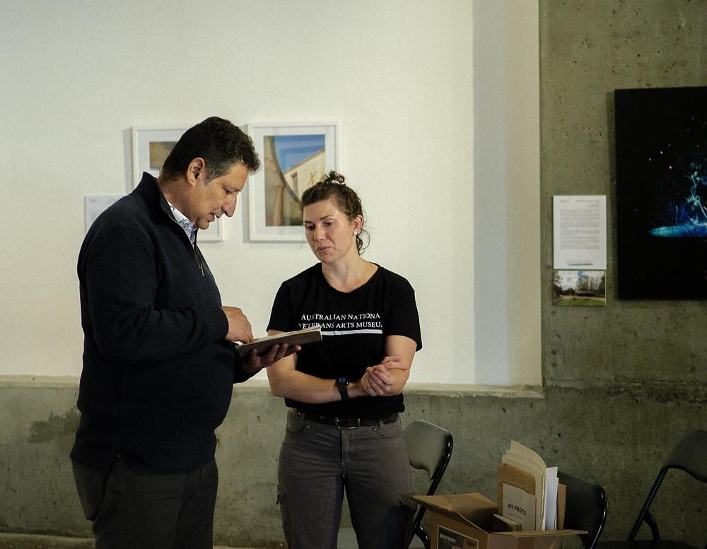 Les D'Monte & Kat Rae preparing for Kat's Artist Talk on Wednesday