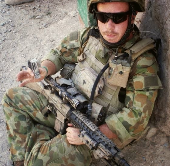 Townsville based MP Phillip Thompson during a deployment in Afghanistan. He was blown up by an IED in 2009. Photo: Phillip Thompson, Twitter.