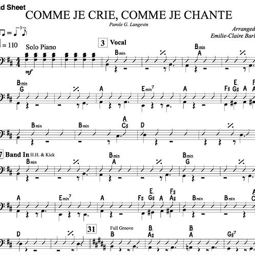 Comme Je Crie, Comme Je Chant - Sheet Music