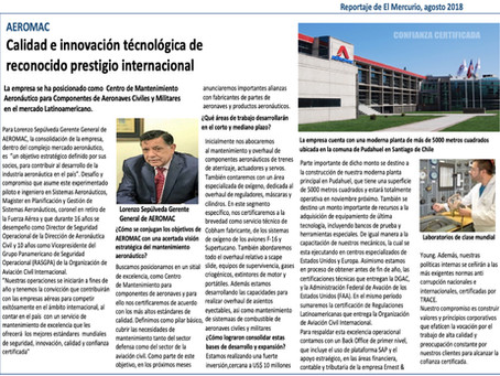 Reportaje El Mercurio, Agosto 2018.
