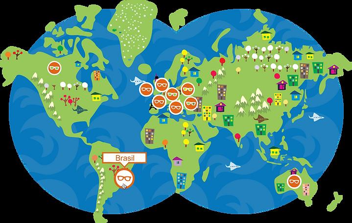 Mapa ilustrativo das cidades onde o festival internacional de ciência Pint of Science irá ocorrer