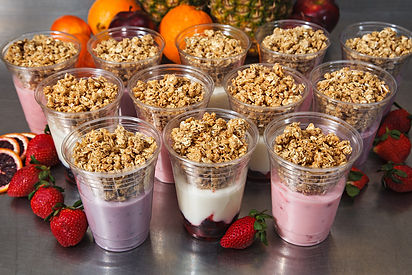 Assorted breakfast parfaits with fresh granola