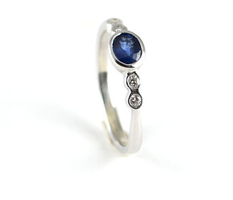 Unique Ring Commission 5 stone Sapphire and Diamond White Gold Ring by HR Jewellery Designs