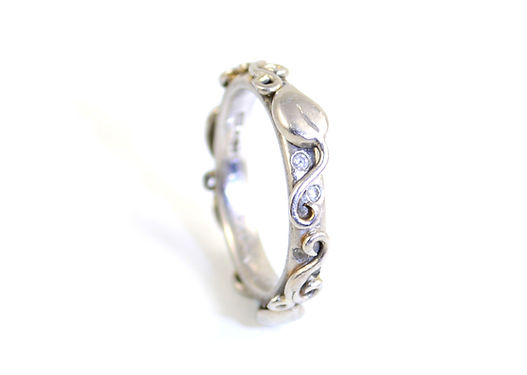 Ring Commission by HR Jewellery Designs. Handmade Platinum and diamond leaf and vine eternirty ring commissioned