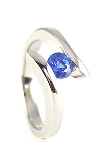 Palladium and Blue Sapphire Cross Over Engagement Ring Commission by HR Jewellery Designs, Chichester, West Sussex