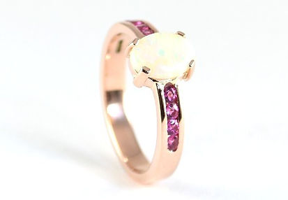 Opal and 9ct Rose Gold Ring made by HR Jewellery Designs West Sussex / Hampshire