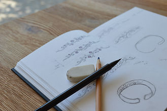 Sketches for the Tree of Life Moonstone Bangle Commission by HR Jewellery Designs