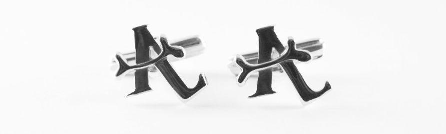 Wedding gift handmade initial cufflinks by HR Jewellery Designs bespoke jeweller